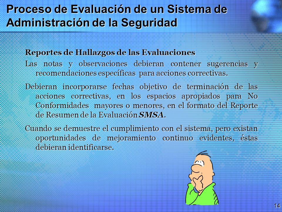 13 Proceso de Evaluación de un Sistema de Administración de la Seguridad Puntaje/Score Final El puntaje final es calculado dividiendo el total del pun
