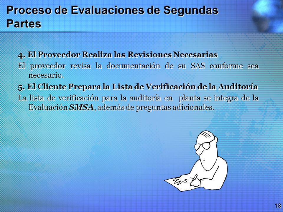 17 Proceso de Evaluaciones de Segundas Partes 2. Revisión de la Documentación El cliente revisa los materiales ofrecidos por el proveedor, para evalua