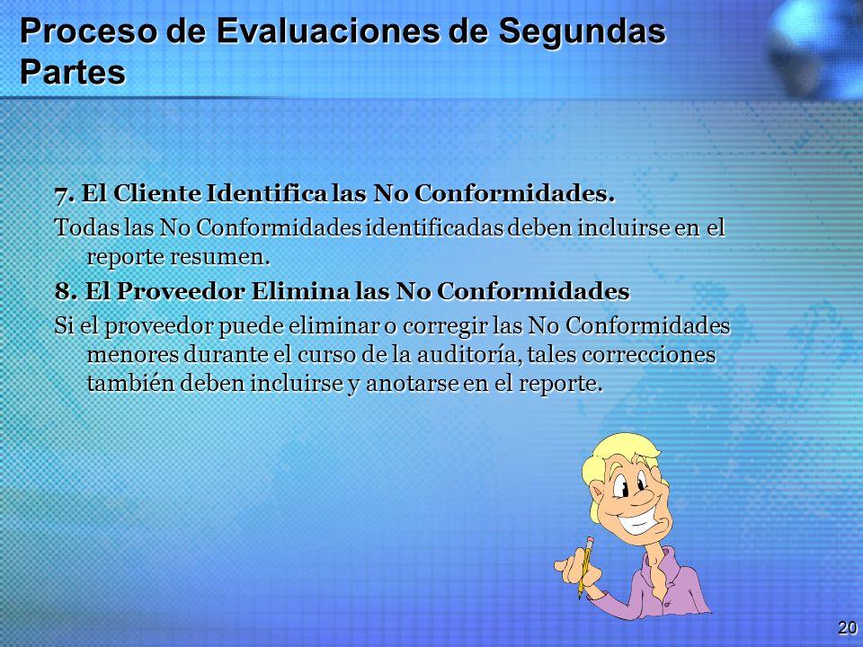 19 Proceso de Evaluaciones de Segundas Partes 6. El Cliente Conduce la Auditoria en Planta El cliente usa y aplica la lista de verificación para evalu