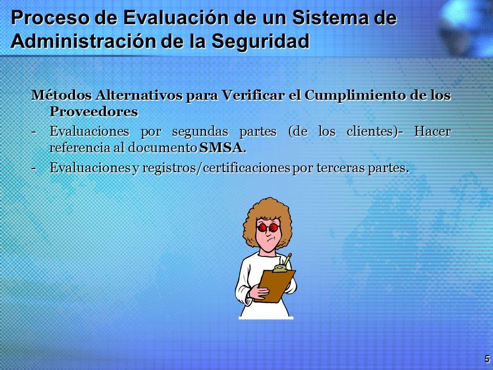 4 Proceso de Evaluación de un Sistema de Administración de la Seguridad Perspectiva El proceso de evaluación es usado para determinar si el Sistema de