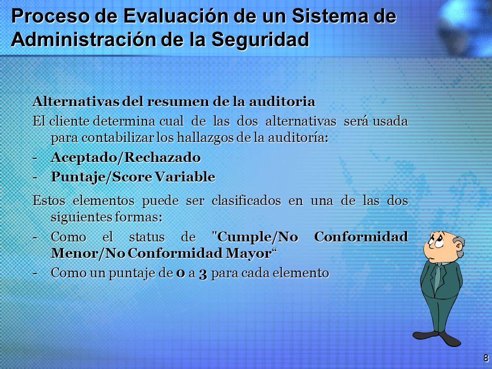 7 Proceso de Evaluación de un Sistema de Administración de la Seguridad Método de Evaluación Se forma de tres fases o etapas principales: 1.Revisiones
