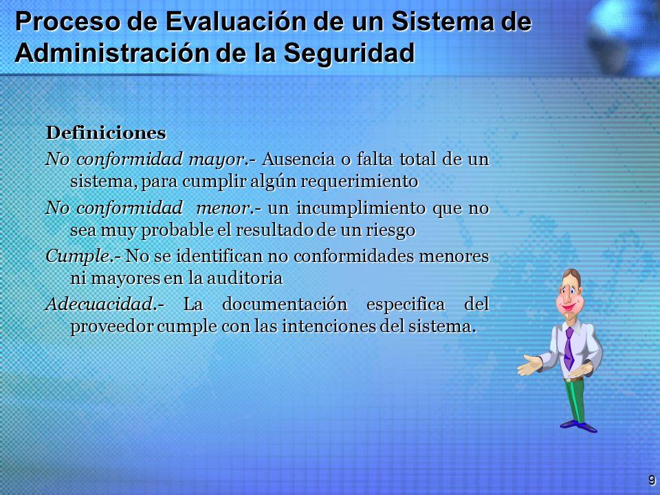 8 Proceso de Evaluación de un Sistema de Administración de la Seguridad Alternativas del resumen de la auditoria El cliente determina cual de las dos