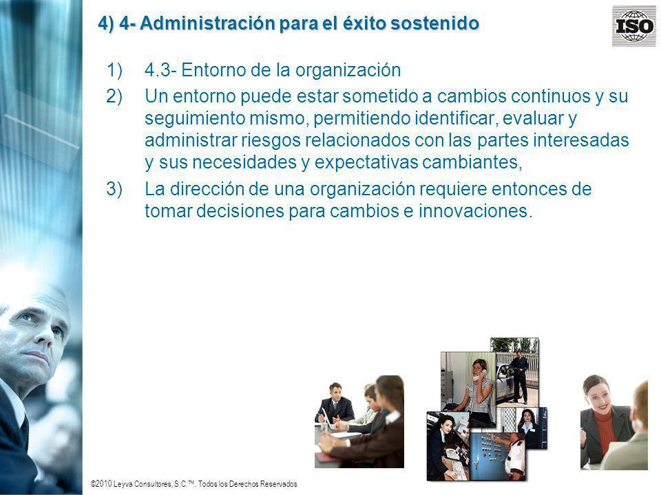 ©2010 Leyva Consultores, S.C.. Todos los Derechos Reservados 4) 4- Administración para el éxito sostenido 1)4.3- Entorno de la organización 2)Un entor