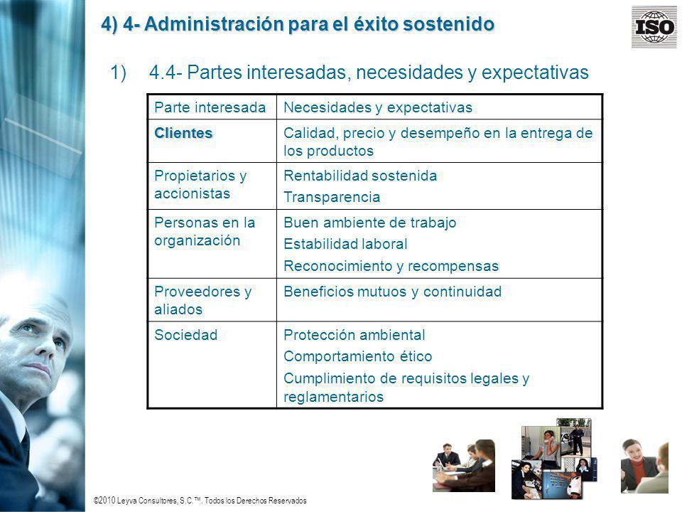 ©2010 Leyva Consultores, S.C.. Todos los Derechos Reservados 4) 4- Administración para el éxito sostenido 1)4.4- Partes interesadas, necesidades y exp
