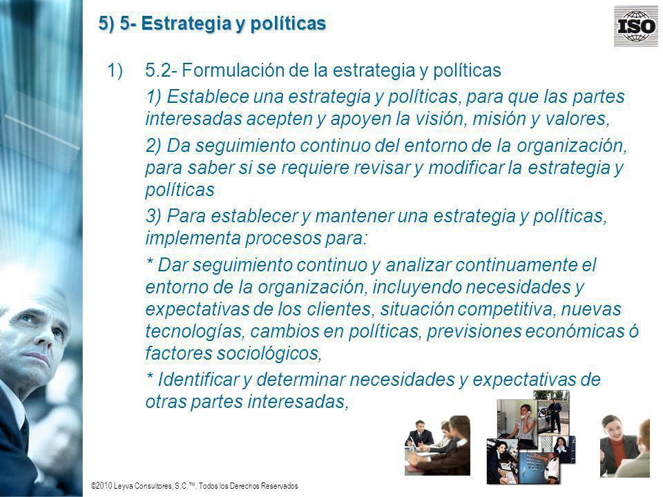 ©2010 Leyva Consultores, S.C.. Todos los Derechos Reservados 5) 5- Estrategia y políticas 1)5.2- Formulación de la estrategia y políticas 1) Establece