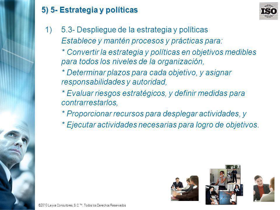 ©2010 Leyva Consultores, S.C.. Todos los Derechos Reservados 5) 5- Estrategia y políticas 1)5.3- Despliegue de la estrategia y políticas Establece y m