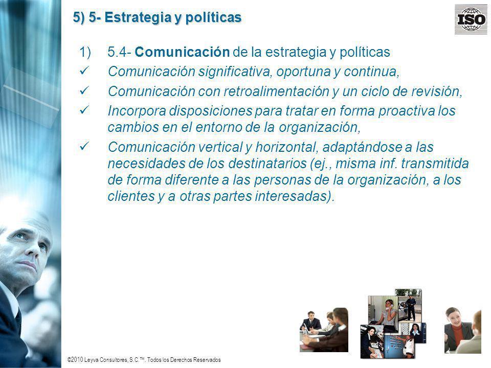 ©2010 Leyva Consultores, S.C.. Todos los Derechos Reservados 5) 5- Estrategia y políticas 1)5.4- Comunicación de la estrategia y políticas Comunicació