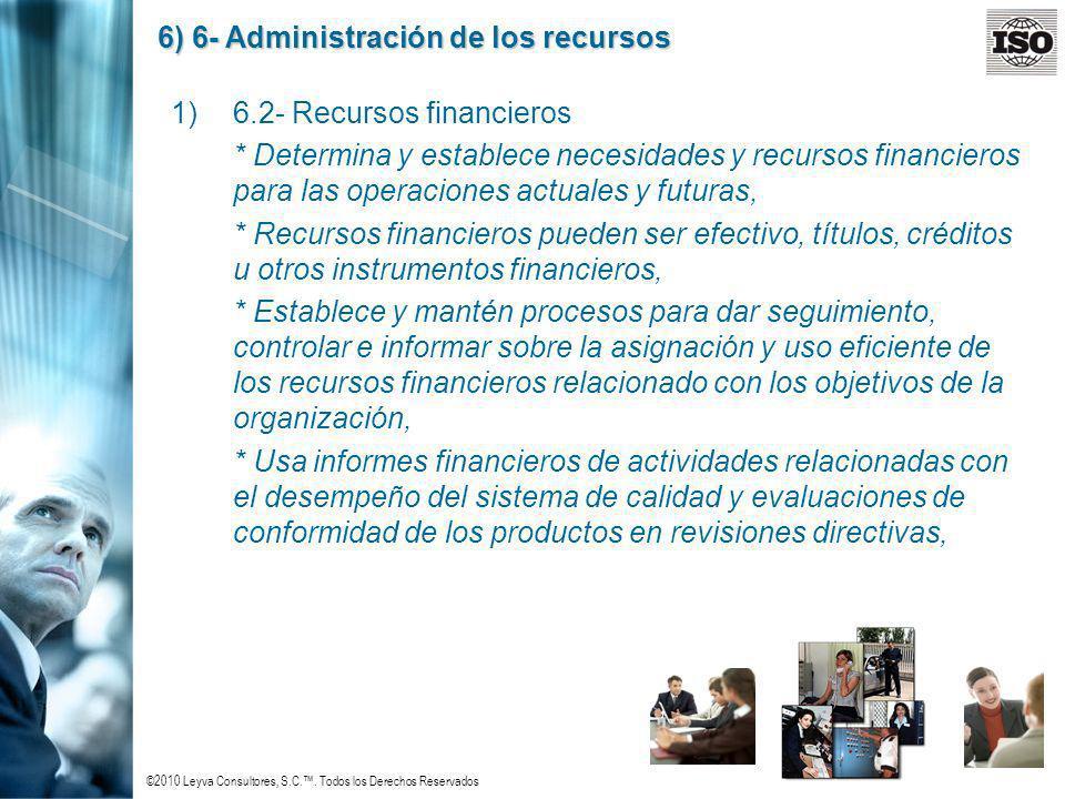 ©2010 Leyva Consultores, S.C.. Todos los Derechos Reservados 6) 6- Administración de los recursos 1)6.2- Recursos financieros * Determina y establece