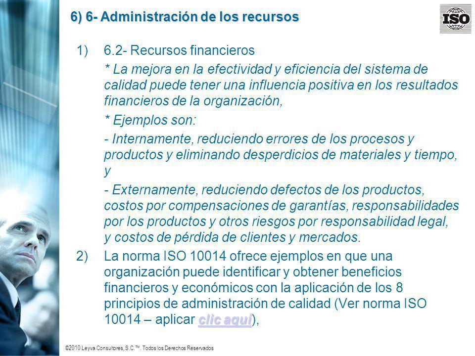 ©2010 Leyva Consultores, S.C.. Todos los Derechos Reservados 6) 6- Administración de los recursos 1)6.2- Recursos financieros * La mejora en la efecti