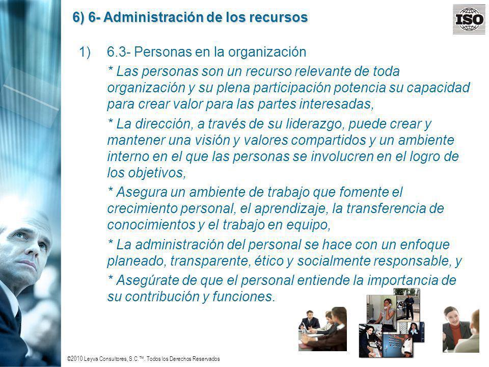 ©2010 Leyva Consultores, S.C.. Todos los Derechos Reservados 6) 6- Administración de los recursos 1)6.3- Personas en la organización * Las personas so