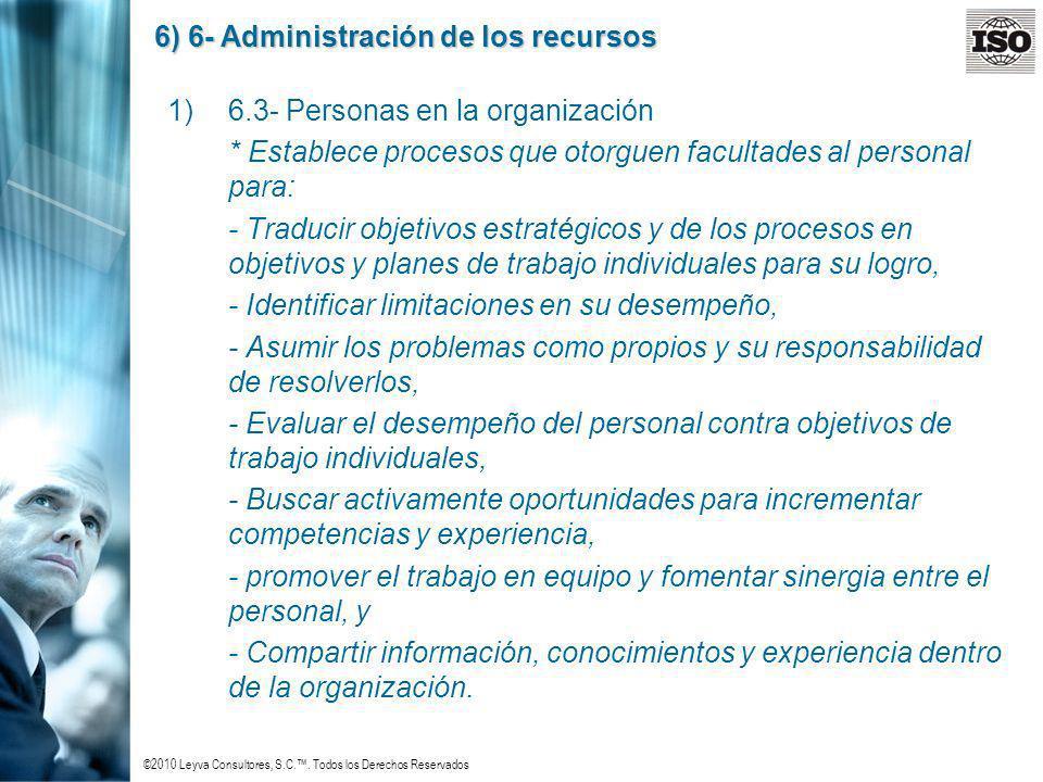 ©2010 Leyva Consultores, S.C.. Todos los Derechos Reservados 6) 6- Administración de los recursos 1)6.3- Personas en la organización * Establece proce
