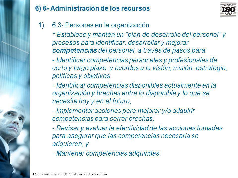 ©2010 Leyva Consultores, S.C.. Todos los Derechos Reservados 6) 6- Administración de los recursos 1)6.3- Personas en la organización * Establece y man