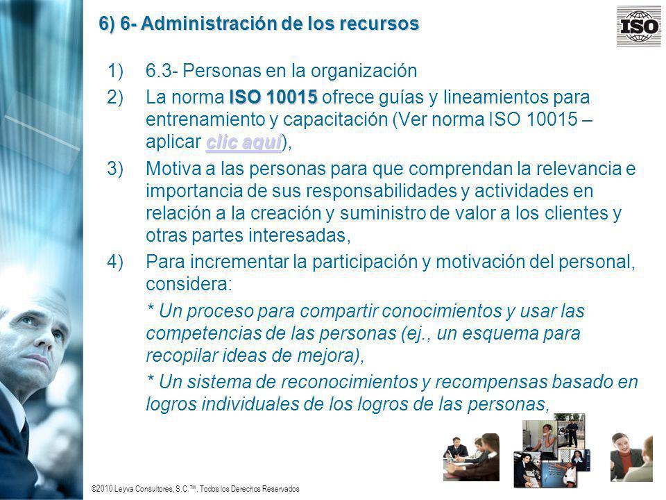 ©2010 Leyva Consultores, S.C.. Todos los Derechos Reservados 6) 6- Administración de los recursos 1)6.3- Personas en la organización ISO 10015 clic aq