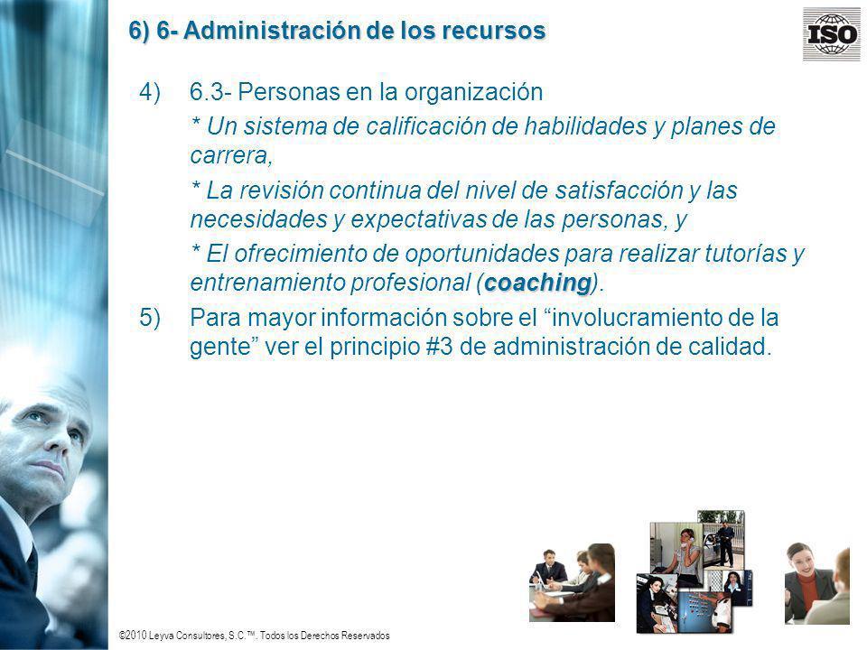©2010 Leyva Consultores, S.C.. Todos los Derechos Reservados 6) 6- Administración de los recursos 4)6.3- Personas en la organización * Un sistema de c