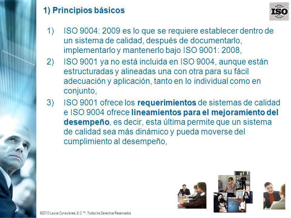 ©2010 Leyva Consultores, S.C.. Todos los Derechos Reservados 1) Principios básicos 1)ISO 9004: 2009 es lo que se requiere establecer dentro de un sist