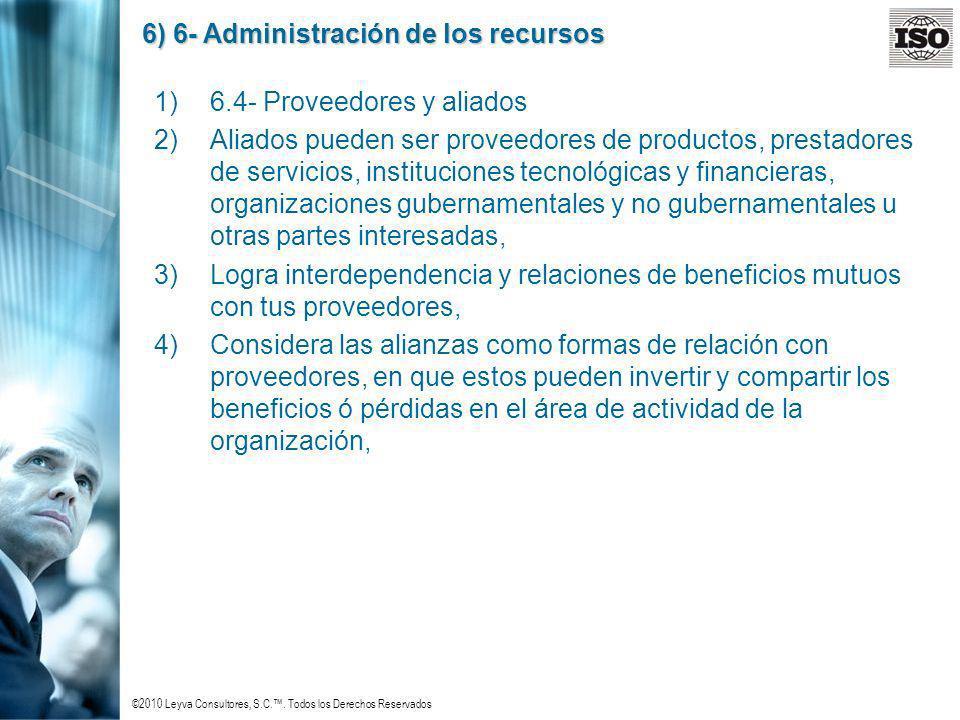 ©2010 Leyva Consultores, S.C.. Todos los Derechos Reservados 6) 6- Administración de los recursos 1)6.4- Proveedores y aliados 2)Aliados pueden ser pr