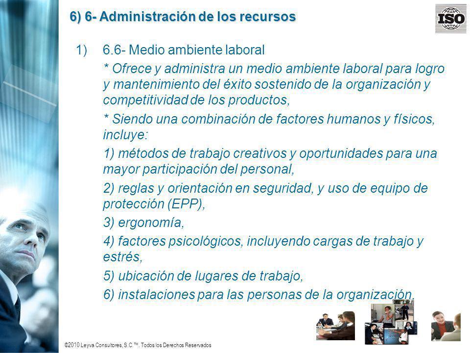 ©2010 Leyva Consultores, S.C.. Todos los Derechos Reservados 6) 6- Administración de los recursos 1)6.6- Medio ambiente laboral * Ofrece y administra