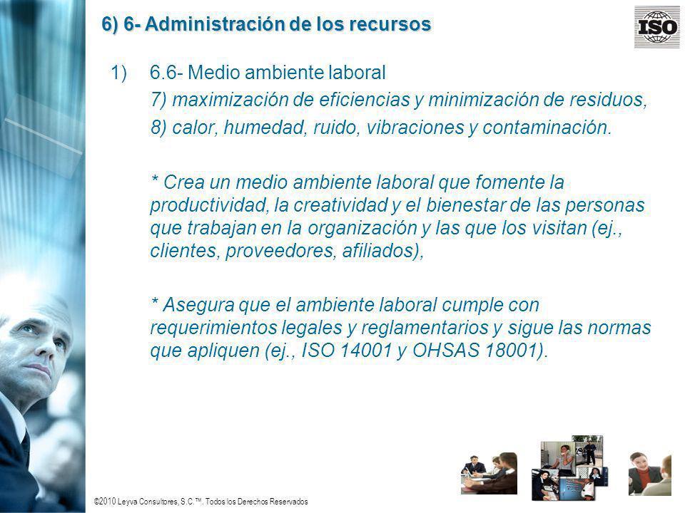 ©2010 Leyva Consultores, S.C.. Todos los Derechos Reservados 6) 6- Administración de los recursos 1)6.6- Medio ambiente laboral 7) maximización de efi
