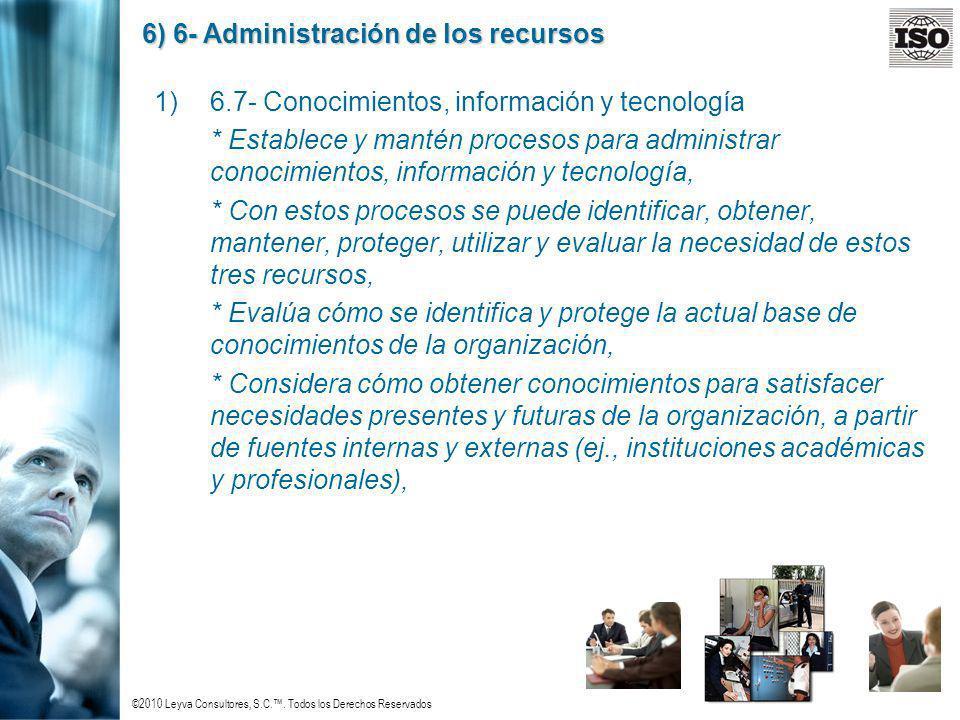 ©2010 Leyva Consultores, S.C.. Todos los Derechos Reservados 6) 6- Administración de los recursos 1)6.7- Conocimientos, información y tecnología * Est