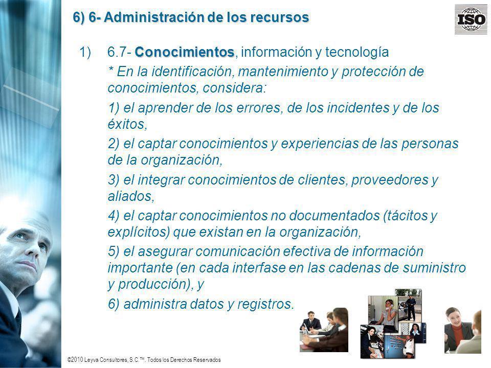 ©2010 Leyva Consultores, S.C.. Todos los Derechos Reservados 6) 6- Administración de los recursos Conocimientos 1)6.7- Conocimientos, información y te