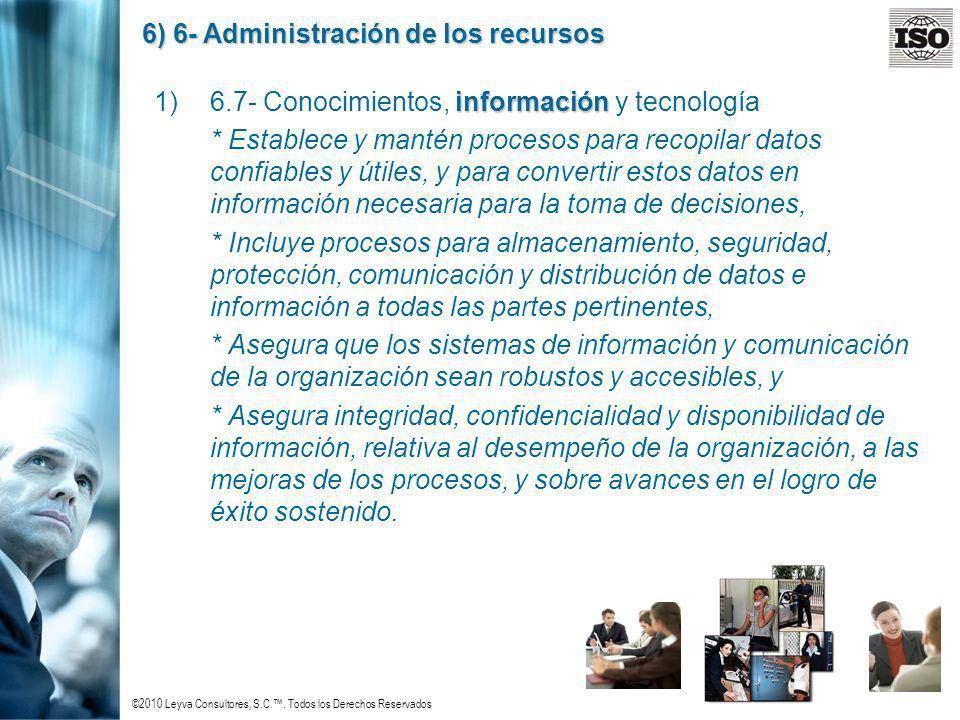 ©2010 Leyva Consultores, S.C.. Todos los Derechos Reservados 6) 6- Administración de los recursos información 1)6.7- Conocimientos, información y tecn