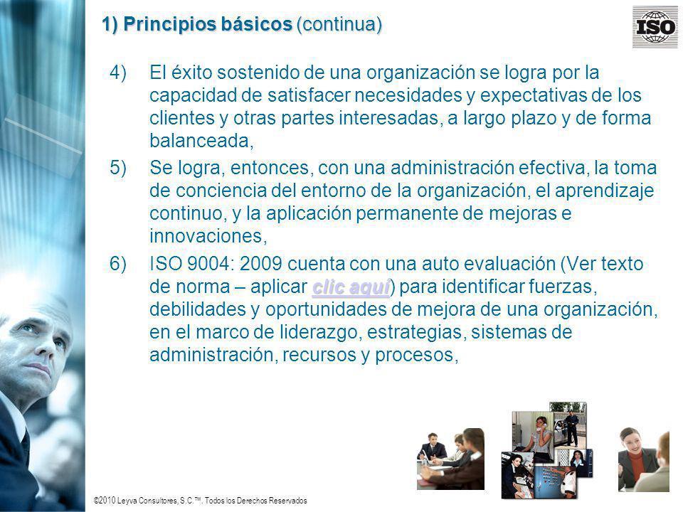©2010 Leyva Consultores, S.C.. Todos los Derechos Reservados 1) Principios básicos (continua) 4)El éxito sostenido de una organización se logra por la