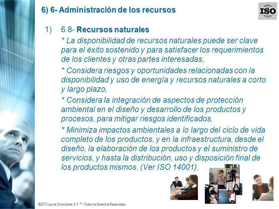 ©2010 Leyva Consultores, S.C.. Todos los Derechos Reservados 6) 6- Administración de los recursos Recursos naturales 1)6.8- Recursos naturales * La di