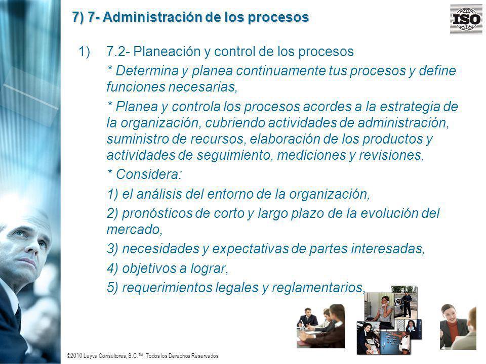 ©2010 Leyva Consultores, S.C.. Todos los Derechos Reservados 7) 7- Administración de los procesos 1)7.2- Planeación y control de los procesos * Determ