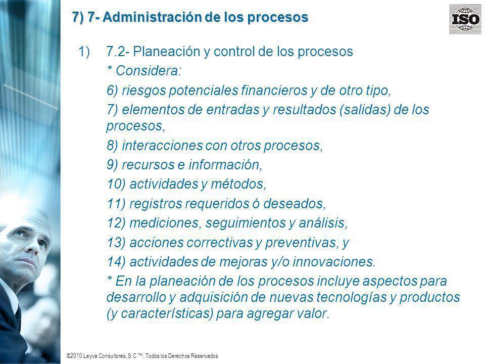 ©2010 Leyva Consultores, S.C.. Todos los Derechos Reservados 7) 7- Administración de los procesos 1)7.2- Planeación y control de los procesos * Consid