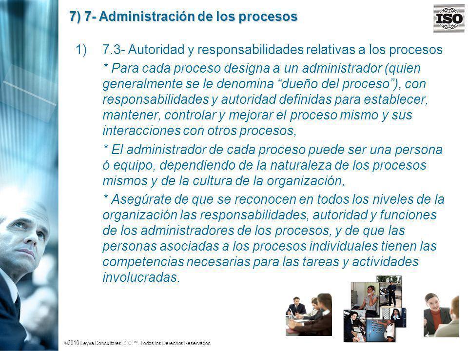 ©2010 Leyva Consultores, S.C.. Todos los Derechos Reservados 7) 7- Administración de los procesos 1)7.3- Autoridad y responsabilidades relativas a los