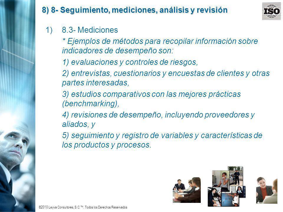 ©2010 Leyva Consultores, S.C.. Todos los Derechos Reservados 8) 8- Seguimiento, mediciones, análisis y revisión 1)8.3- Mediciones * Ejemplos de método