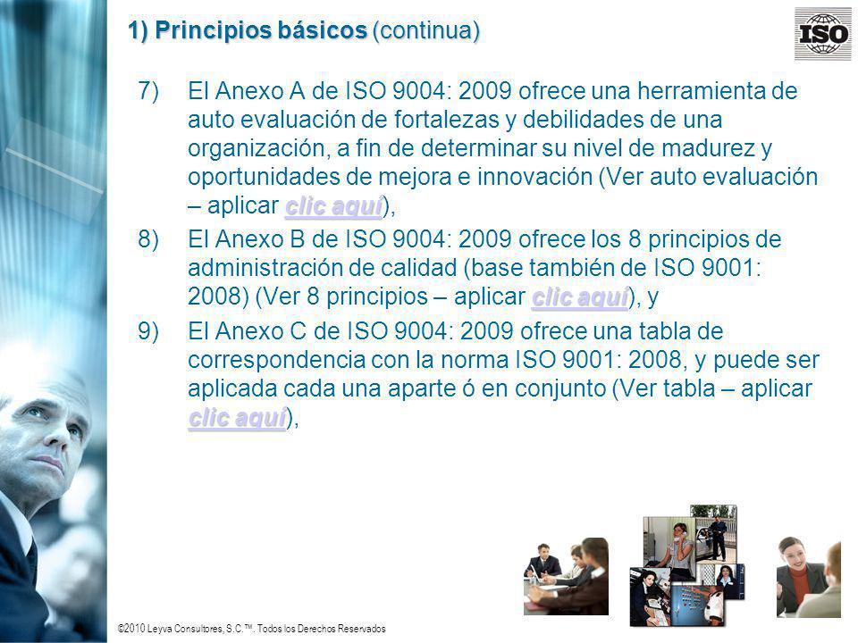 ©2010 Leyva Consultores, S.C.. Todos los Derechos Reservados 1) Principios básicos (continua) clic aquí clic aquí 7)El Anexo A de ISO 9004: 2009 ofrec