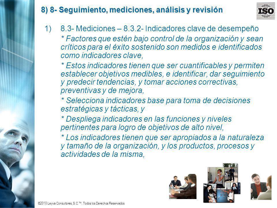 ©2010 Leyva Consultores, S.C.. Todos los Derechos Reservados 8) 8- Seguimiento, mediciones, análisis y revisión 1)8.3- Mediciones – 8.3.2- Indicadores