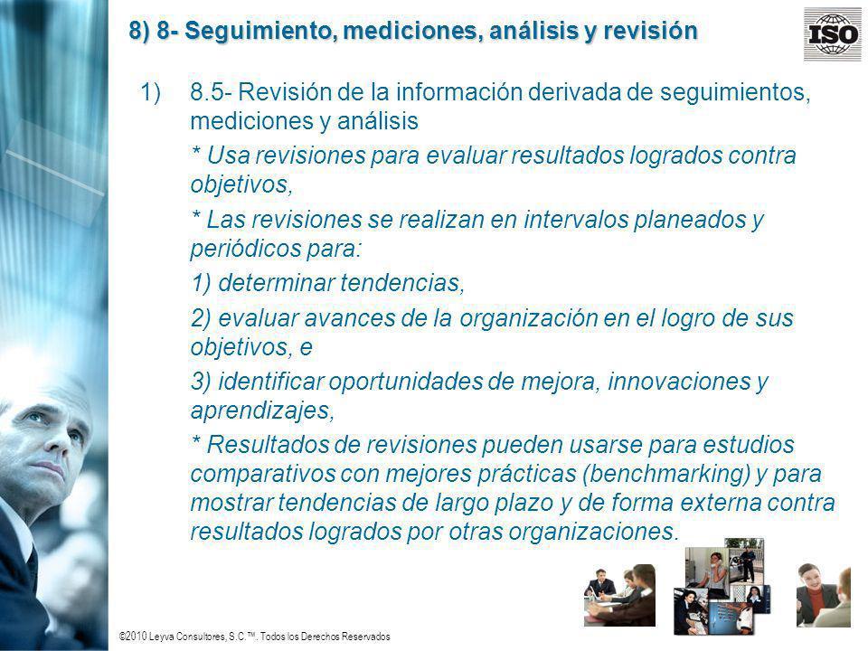 ©2010 Leyva Consultores, S.C.. Todos los Derechos Reservados 8) 8- Seguimiento, mediciones, análisis y revisión 1)8.5- Revisión de la información deri