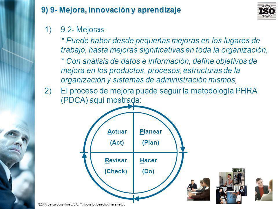 ©2010 Leyva Consultores, S.C.. Todos los Derechos Reservados 9) 9- Mejora, innovación y aprendizaje 1)9.2- Mejoras * Puede haber desde pequeñas mejora