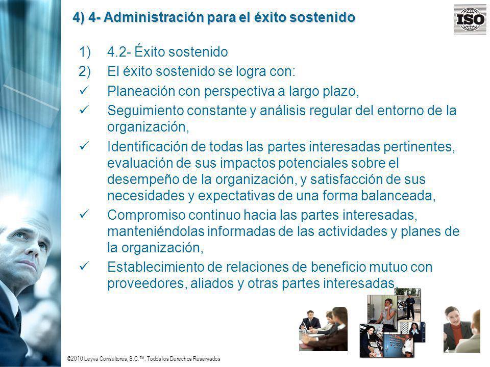 ©2010 Leyva Consultores, S.C.. Todos los Derechos Reservados 4) 4- Administración para el éxito sostenido 1)4.2- Éxito sostenido 2)El éxito sostenido