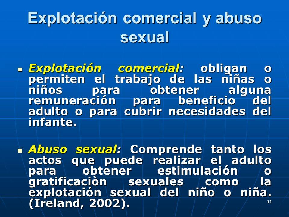 11 Explotación comercial y abuso sexual Explotación comercial: obligan o permiten el trabajo de las niñas o niños para obtener alguna remuneración par