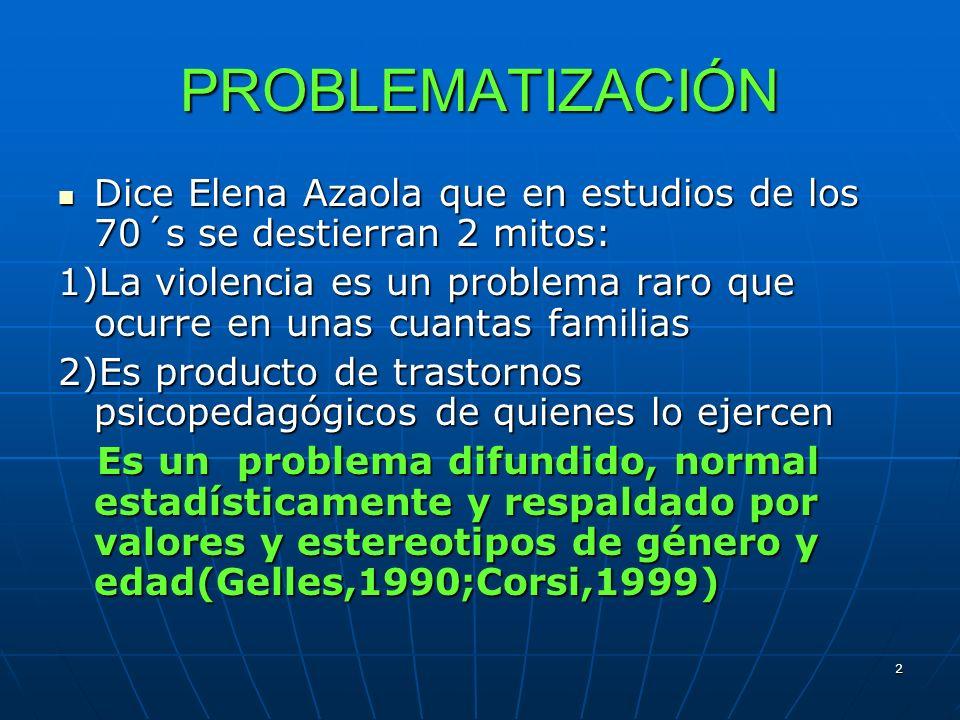 2 PROBLEMATIZACIÓN Dice Elena Azaola que en estudios de los 70´s se destierran 2 mitos: Dice Elena Azaola que en estudios de los 70´s se destierran 2