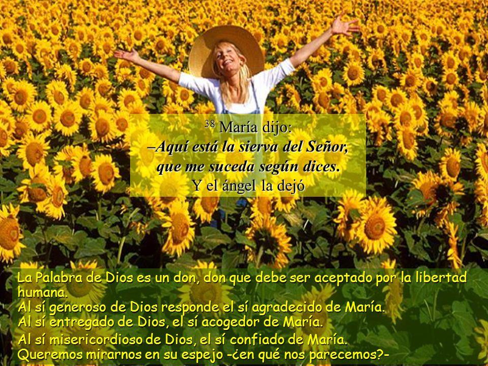 38 María dijo: –Aquí está la sierva del Señor, que me suceda según dices.