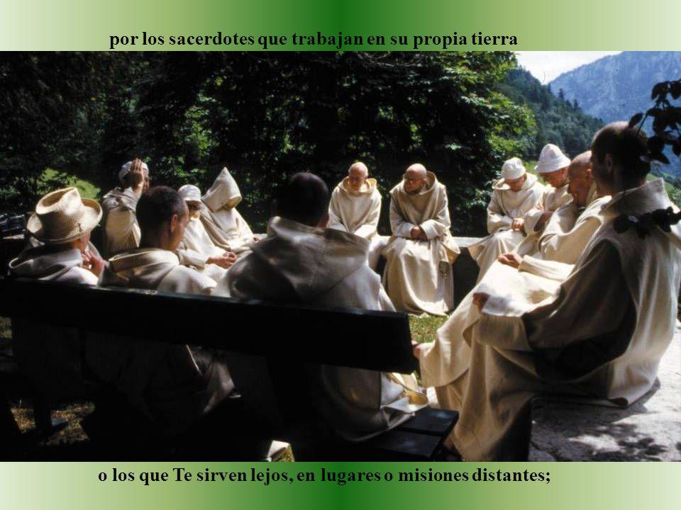 por los sacerdotes que trabajan en su propia tierra o los que Te sirven lejos, en lugares o misiones distantes;