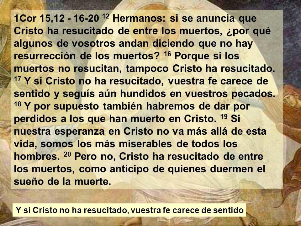 1Cor 15,12 - 16-20 12 Hermanos: si se anuncia que Cristo ha resucitado de entre los muertos, ¿por qué algunos de vosotros andan diciendo que no hay resurrección de los muertos.