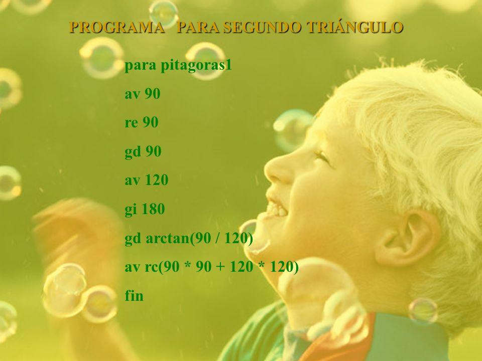 PROGRAMA PARA SEGUNDO TRIÁNGULO para pitagoras1 av 90 re 90 gd 90 av 120 gi 180 gd arctan(90 / 120) av rc(90 * 90 + 120 * 120) fin