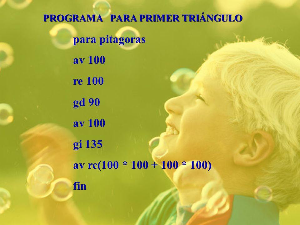 para pitagoras av 100 re 100 gd 90 av 100 gi 135 av rc(100 * 100 + 100 * 100) fin PROGRAMA PARA PRIMER TRIÁNGULO