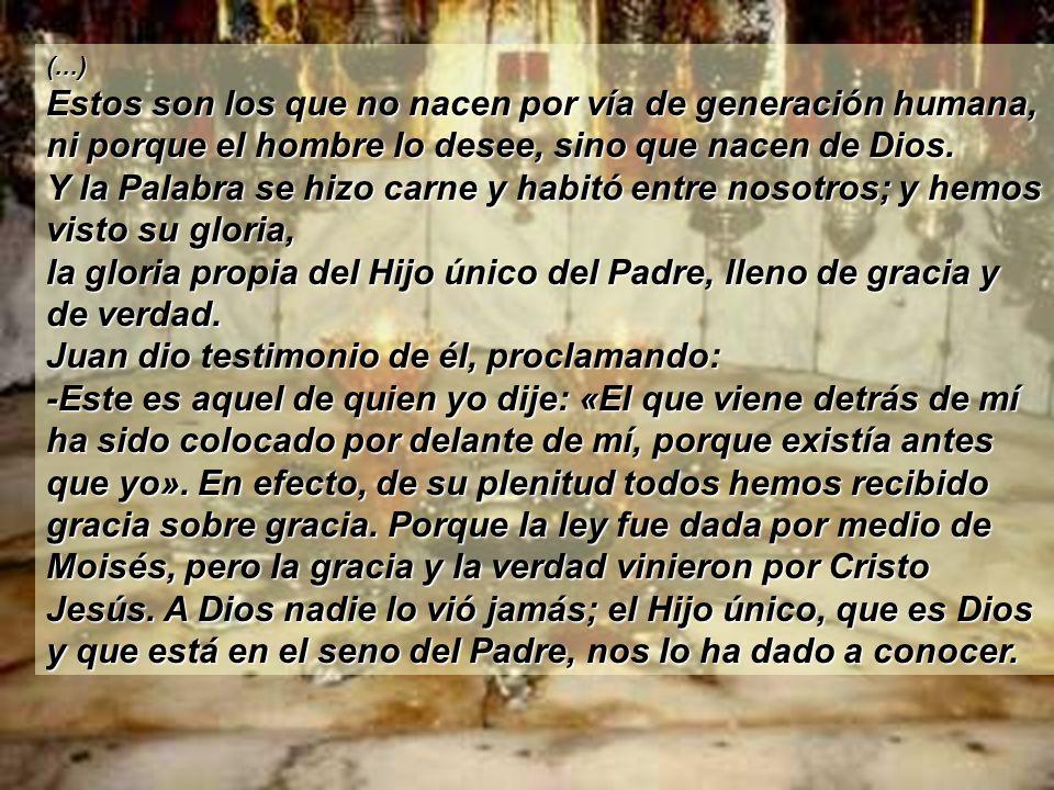 ( Del evangelio según san Juan ) Jn 1: 1-18 Al principio ya existía la Palabra. La Palabra estaba junto a Dios, y la Palabra era Dios. Ya al principio