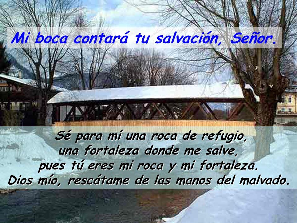 SALMO 70 Mi boca contará tu salvación, Señor. A ti, Señor, me acojo; no quede yo avergonzado para siempre. Líbrame, rescátame, tú que eres fiel; incli