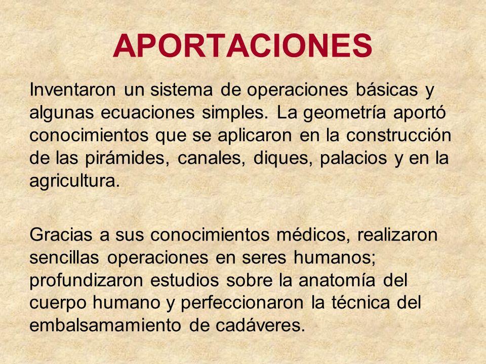 APORTACIONES Inventaron un sistema de operaciones básicas y algunas ecuaciones simples. La geometría aportó conocimientos que se aplicaron en la const