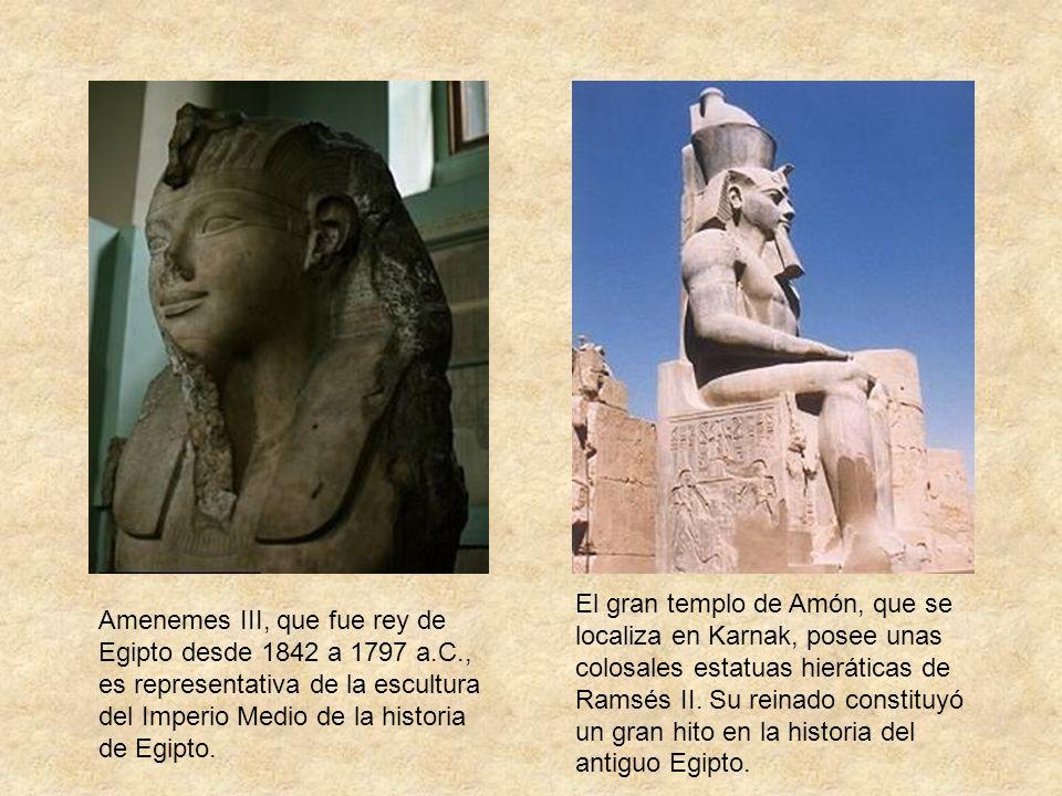 Amenemes III, que fue rey de Egipto desde 1842 a 1797 a.C., es representativa de la escultura del Imperio Medio de la historia de Egipto. El gran temp