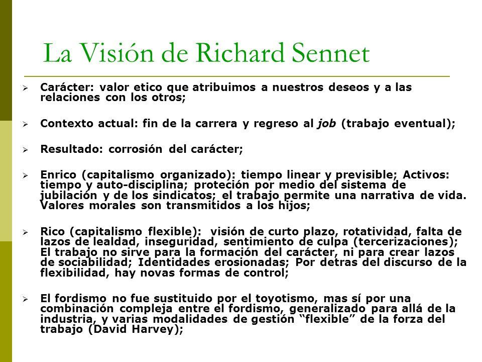 La Visión de Richard Sennet Carácter: valor etico que atribuimos a nuestros deseos y a las relaciones con los otros; Contexto actual: fin de la carrer