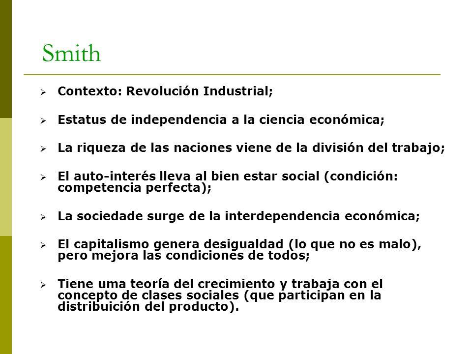 Smith Contexto: Revolución Industrial; Estatus de independencia a la ciencia económica; La riqueza de las naciones viene de la división del trabajo; E