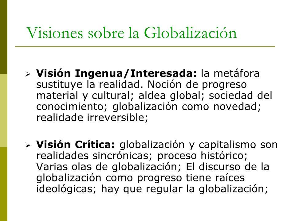 Visiones sobre la Globalización Visión Ingenua/Interesada: la metáfora sustituye la realidad. Noción de progreso material y cultural; aldea global; so